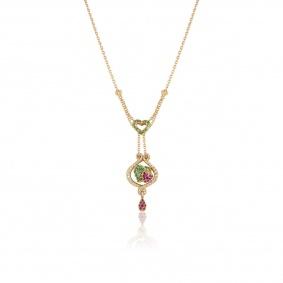 Yellow Gold Diamond and Gem Set Heart Pendant